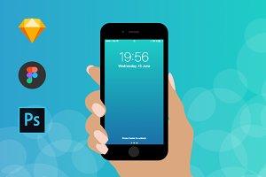 Iphone Flat Hand Mockup
