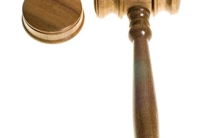 Wooden gavel and strike