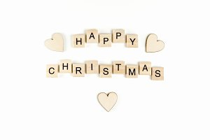 Happy christmas wooden text