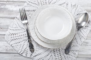 White plates, serving for diner