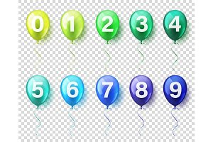 Isolated Realistic Colorful Glossy Flying Air Balloons set with numbers. Birthday party. Ribbon.Celebration. Wedding or Anniversary.
