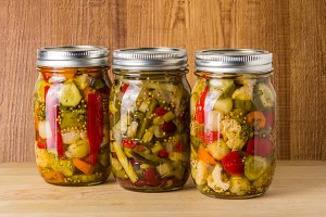 Jars of fresh mixed vegetables
