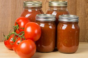 Jars of fresh tomato sauce