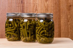 Jars of fresh beans