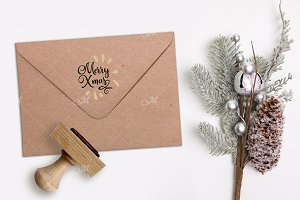 Xmas Rubber Stamp & Envelope Mockup