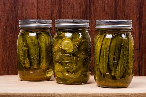 Jars of fresh pickles