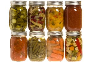 Jars of fresh produce