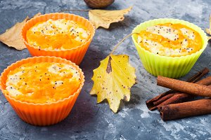 Autumn cupcake with pumpkin