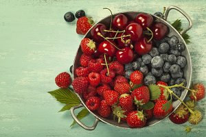 Mix of fresh berries and fruits