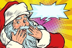 Surprised reaction. Santa Claus Christmas character