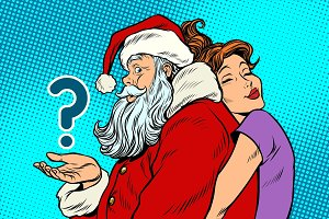 Santa Claus and beautiful woman, a surprise Christmas gift