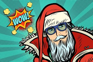 wow Hipster Santa Claus