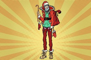 Hipster Santa Claus with Christmas gift bag