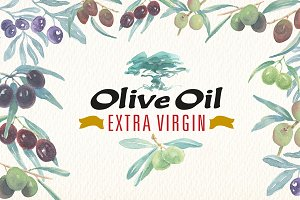 Watercolor olive oil clipart