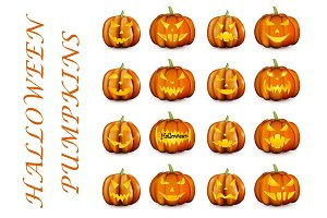Set of orange 3d halloween pumpkins