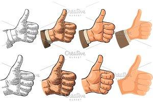 Hand symbol Like flat engraving