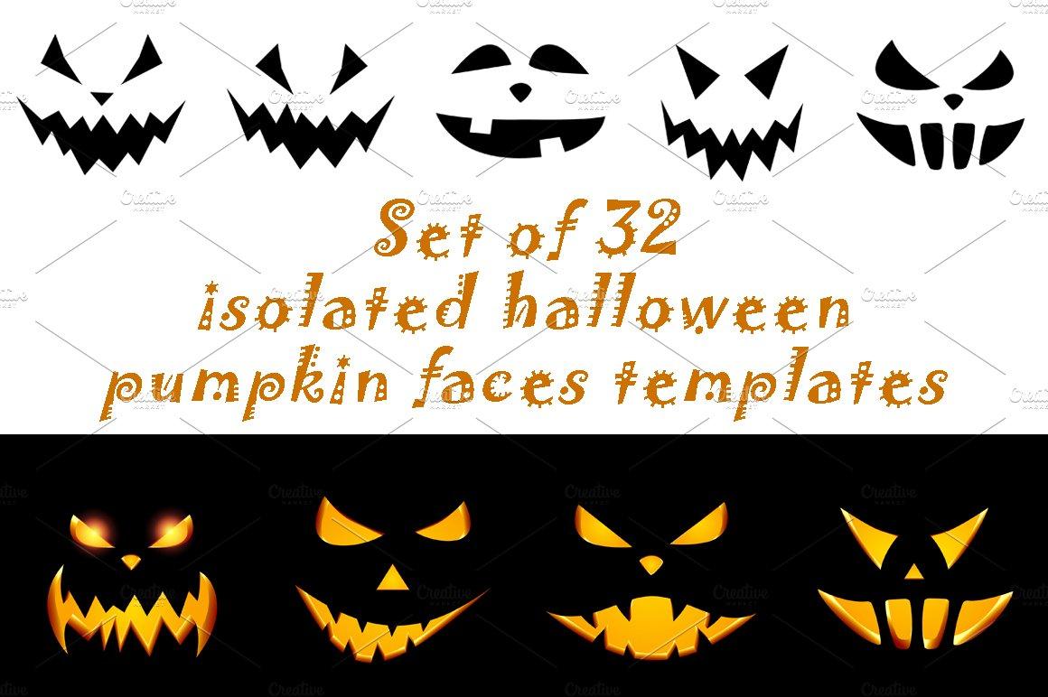 Halloween pumpkin face patterns ~ Illustrations ~ Creative Market