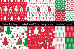 Red & Green Winter Holiday Patterns