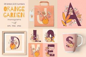 Orange garden monograms