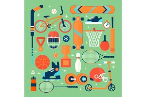 Set of colorful sport icons.Isolated vector objects.Tourism, sports, fitness and a healthy lifestyle. Flat illustration