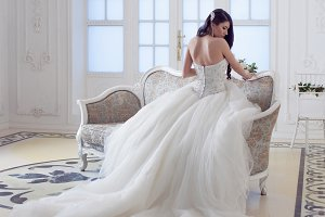 Portrait of beautiful laughing bride. Wedding dress with open back. Luxurious light interior
