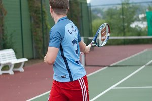 Tennis player doing backhand turning