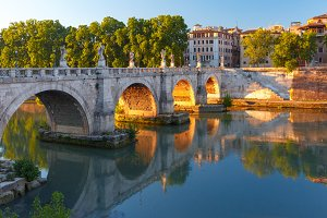 Saint Angel bridge at sunrise, Rome, Italy.