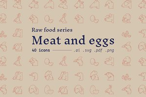 Meat and eggs / food icons
