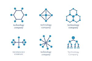 Technology company logo set