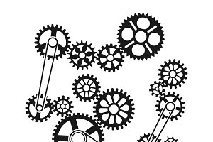 Gears and wheels design element
