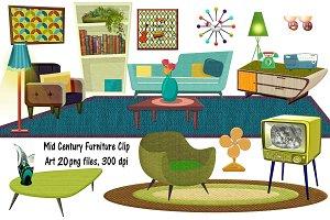 Mid Century Furniture Clip Art