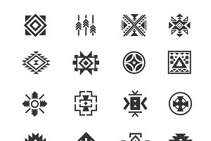 Traditional tribal mexican symbols