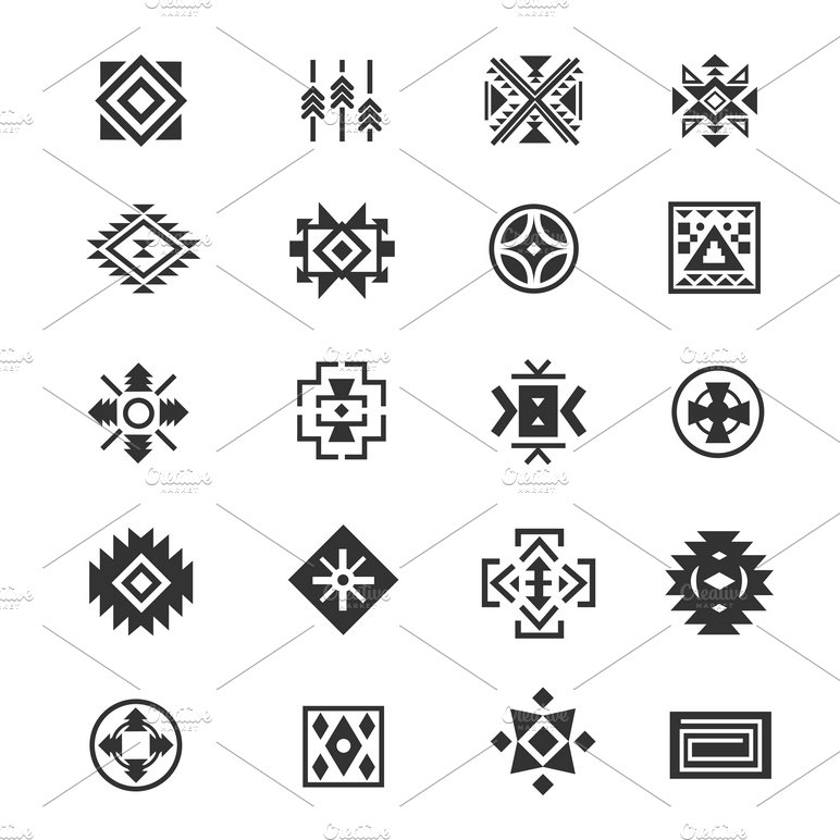 native american indians tribal symbols illustrations creative market