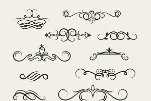 Flourish scroll design elements