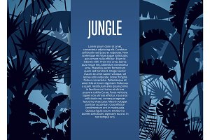 Deep tropical jungle vector background