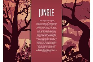 Evening tropical jungle vector background