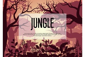 Morning tropical jungle vector background
