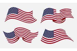 Flowing flat american flag