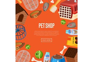 Pet shop poster in cartoon style