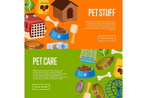 Pet care poster in cartoon style