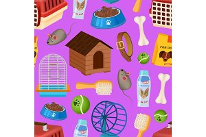 Pet shop seamless pattern in cartoon style