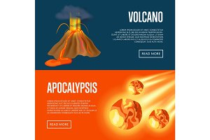 Volcanic eruption and meteorite apocalypse banners
