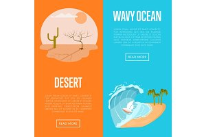 Drought desert and wavy ocean banners.