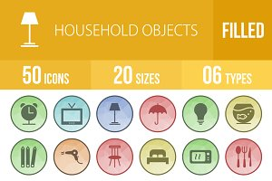 50 Household Objects Low Poly Icons