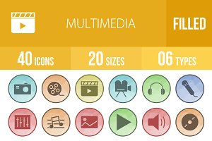 40 Multimedia Low Poly B/G Icons