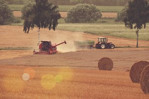 Harvester working on a Field
