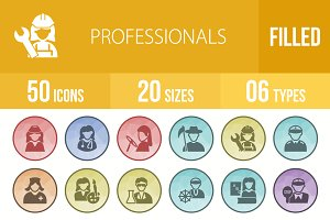 50 Professionals Low Poly B/G Icons