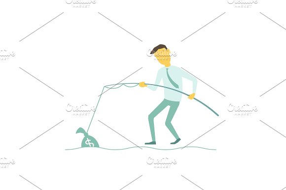 Businessman Catch Money With A Fishing Rod Caught Bag Of Money Illustration Of A Vector