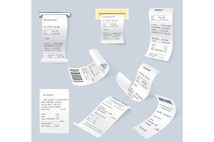 Paper print check vector elements set