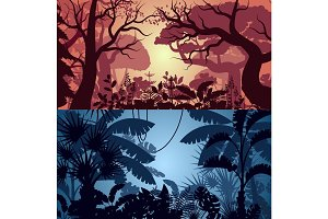 Deep tropical jungle and greenwood backgrounds